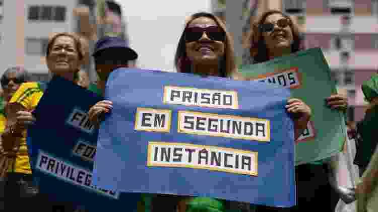 17.nov.19 - Manifestantes protestam em Copacabana no Rio em defesa da prisão de condenados em segunda instância  - BRUNO ROCHA/FOTOARENA/FOTOARENA/ESTADÃO CONTEÚDO - BRUNO ROCHA/FOTOARENA/FOTOARENA/ESTADÃO CONTEÚDO