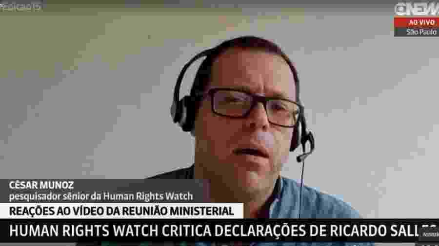 César Muñoz, pesquisador da Human Rights Watch, diz que fala de Salles empodera criminosos na Amazônia - Reprodução