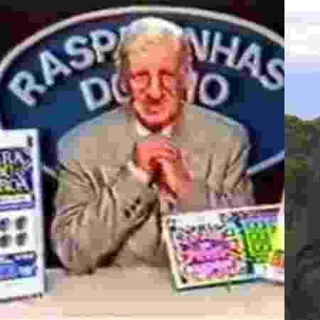 À esq, o comediante Costinha em propaganda de loteria nos anos 80; à dir., Crivella em programa eleitoral na  TV - Reprodução