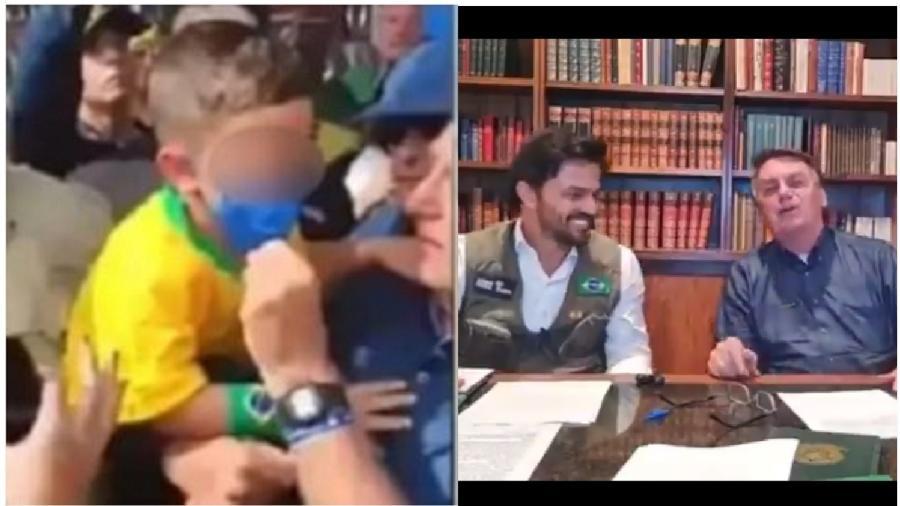 Jair Bolsonaro tira máscara de criança no Rio Grande do Norte. Em live, presidente e Fábio Faria produzem desinformação sobre a vacina e fazem pouco caso do povo brasileiro - Reprodução