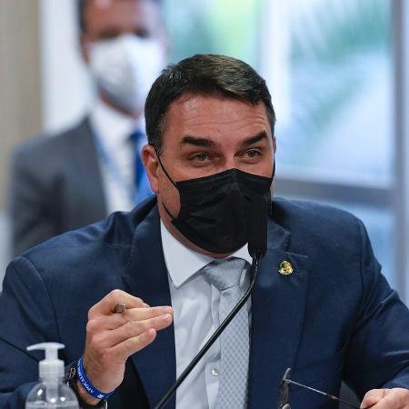 14.jul.2021 - O senador Flávio Bolsonaro (Patriota-RJ), durante sessão da CPI da Covid - Jefferson Rudy/Agência Senado