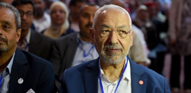 O líder do partido Ennahdha, Rached Ghannouchi, participa de congresso da legenda em Hammamet, na Tunísia