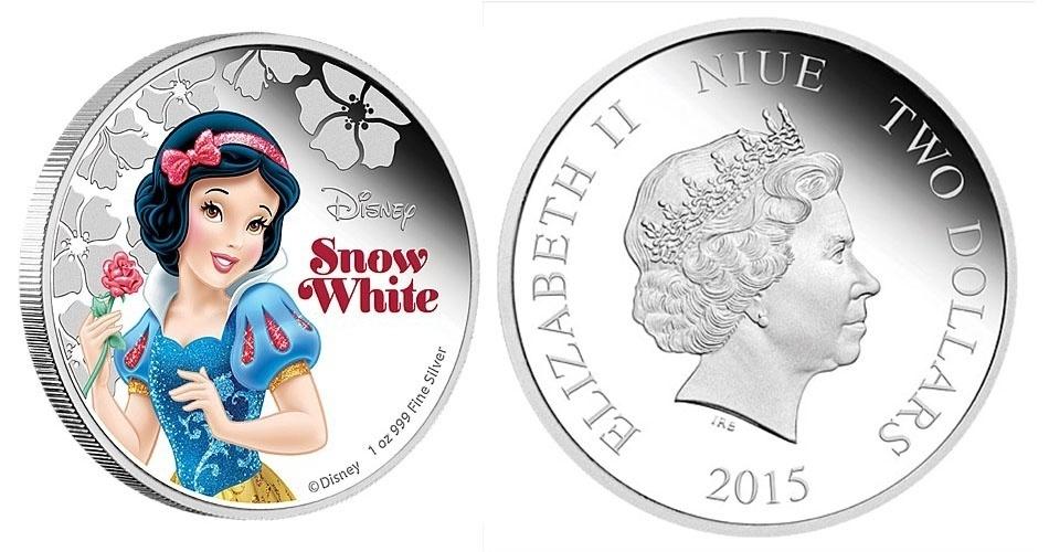 Moeda de 2 dólares de Niue, ilha do Pacífico que é um território associado da Nova Zelândia, estampada com a Branca de Neve; a edição faz parte de uma série especial com princesas da Disney