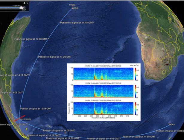 Reprodução do Google Earth divulgada pela OTPCE para sinalizar explosão detectada no Atlântico