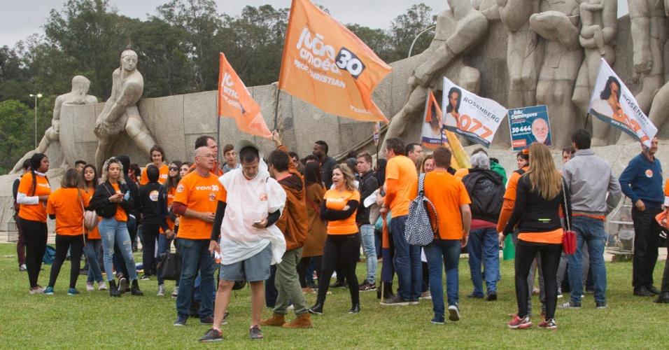 O partido Novo encerrou a campanha no Monumento às Bandeiras, em São Paulo