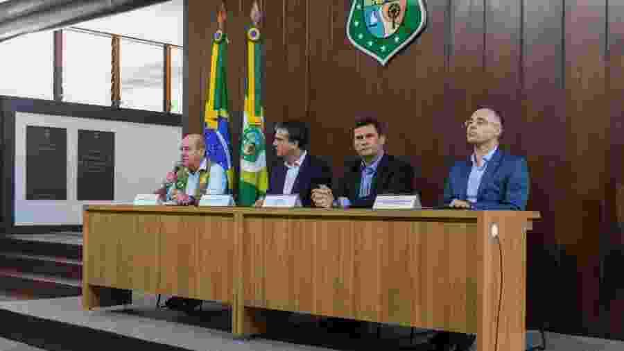 Ministros Fernando Azevedo (Defesa), Sergio Moro (Justiça e Segurança Pública) e André Mendonça (Advocacia-Geral da União) foram à Fortaleza após explosão de crimes durante motim da PM - Ministério da Defesa/Divulgação