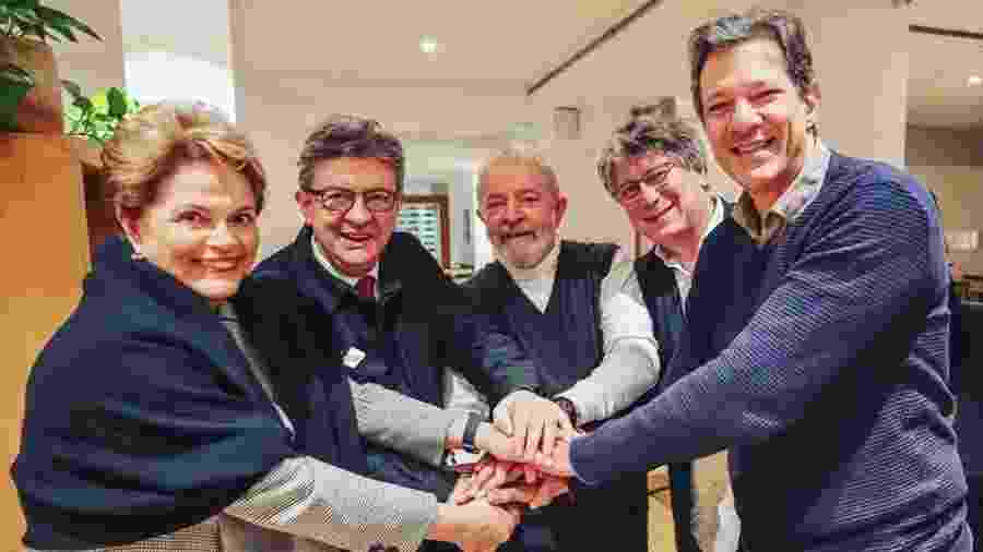 Os ex-presidentes Dilma Rousseff e Luiz Inácio Lula da Silva se encontraram em Paris com políticos franceses - Divulgação/Ricardo Stuckert