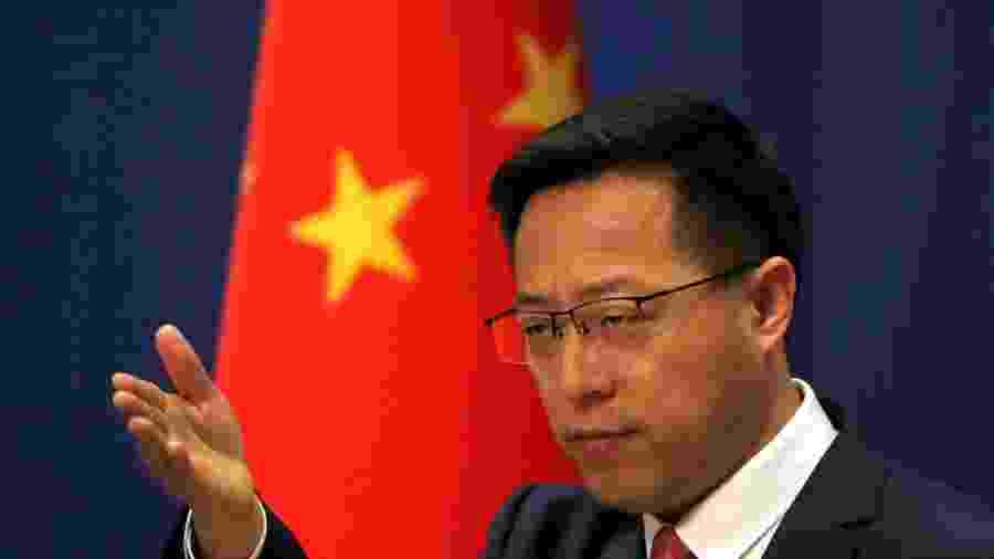 Porta-voz do Ministério das Relações Exteriores da China, Zhao Lijian, durante entrevista coletiva em Pequim - Reuters
