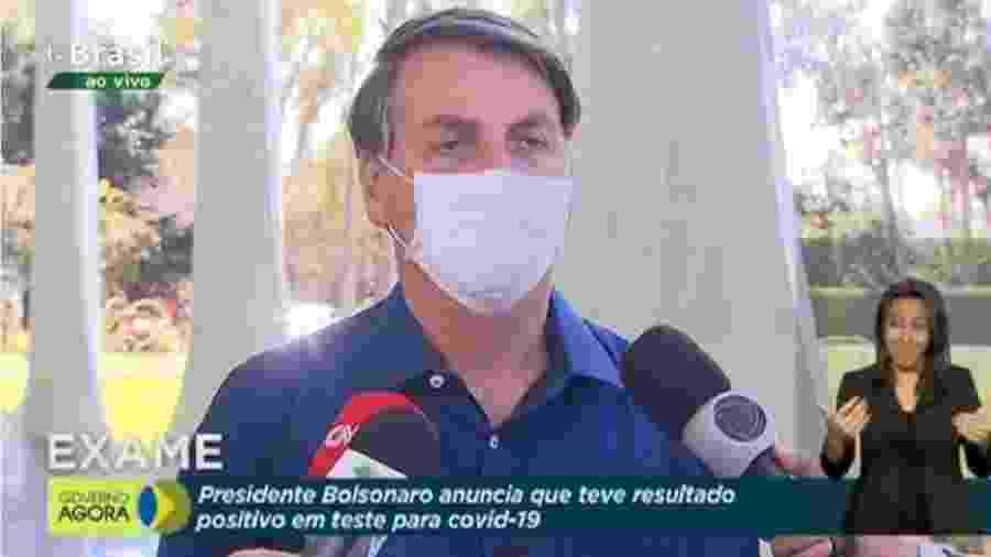 O presidente Jair Bolsonaro durante anúncio de que esta com Covid-19. Padrão não mudou - Reprodução/TVBrasil