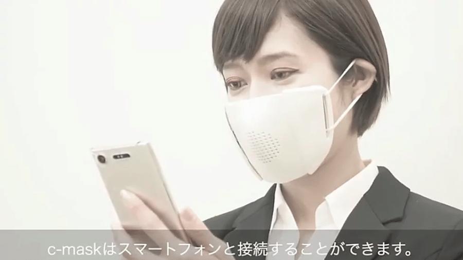 C-Mask, inventada por japoneses, é uma máscara que se conecta ao celular - Reprodução/Donut Robotics