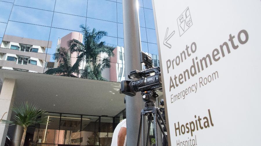 15.jul.2021 - Entrada do hospital Vila Nova Star, em São Paulo, onde o presidente Jair Bolsonaro ficou internado - André Ribeiro/Futura Press/Estadão Conteúdo