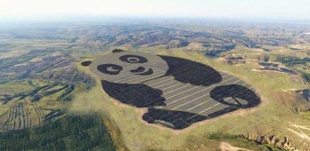 Placas de energia solar formam o desenho do animal característico do país asiático