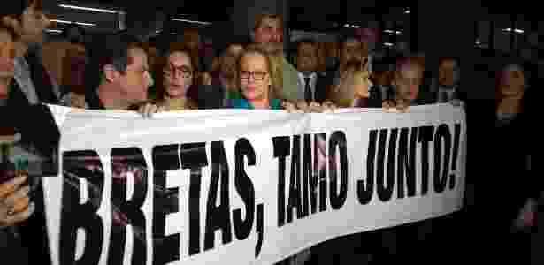 24.ago.2017 - Artistas participaram de ato em apoio ao juiz Marcelo Bretas, no Rio - Paula Bianchi/UOL