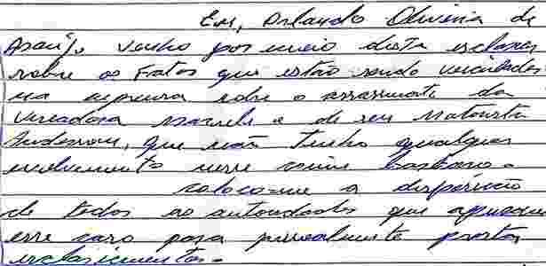 10.mai.2018 - Manuscrito de Orlando Oliveira Araújo, o ex-PM que nega ter sido o mandante da morte de Marielle - Reprodução