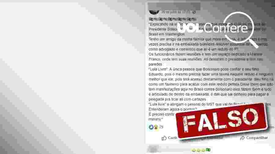 """5.ago.2019 - Corrente espalha informação falsa de que embaixada do Brasil em Washington é """"reduto do PT"""" - Arte/UOL"""