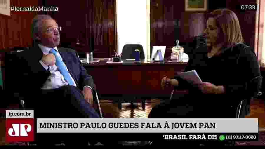 Paulo Guedes, ministro da Economia, durante entrevista à rádio Jovem Pan - Reprodução/Jovem Pan
