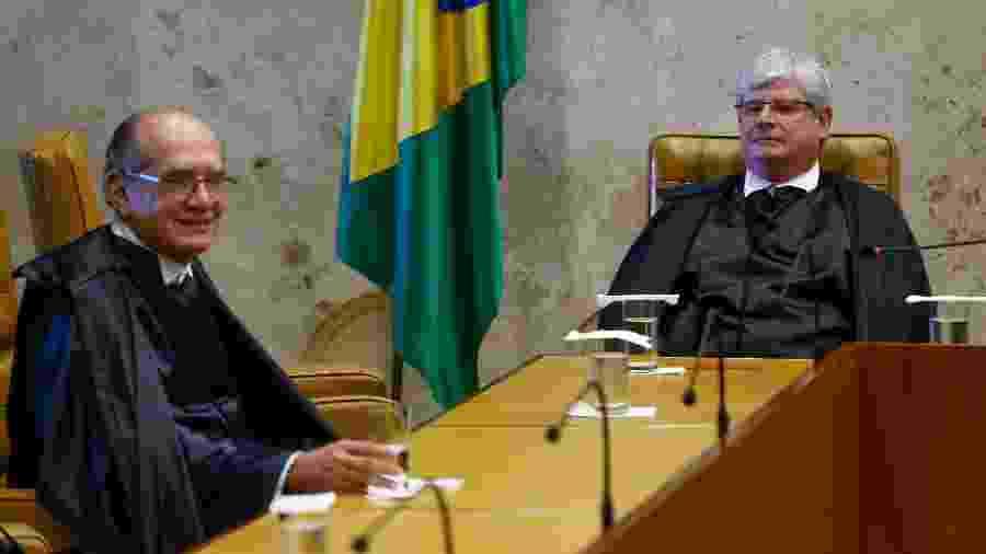 Gilmar Mendes (à esq.) e Rodrigo Janot (à dir.) durante sessão no STF - Pedro Ladeira/Folhapress