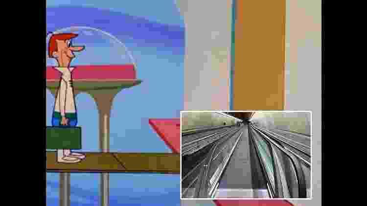 12 previsões que os Jetsons acertaram sobre a tecnologia no século 21 - Esteiras rolantes - Reprodução/Arte UOL - Reprodução/Arte UOL