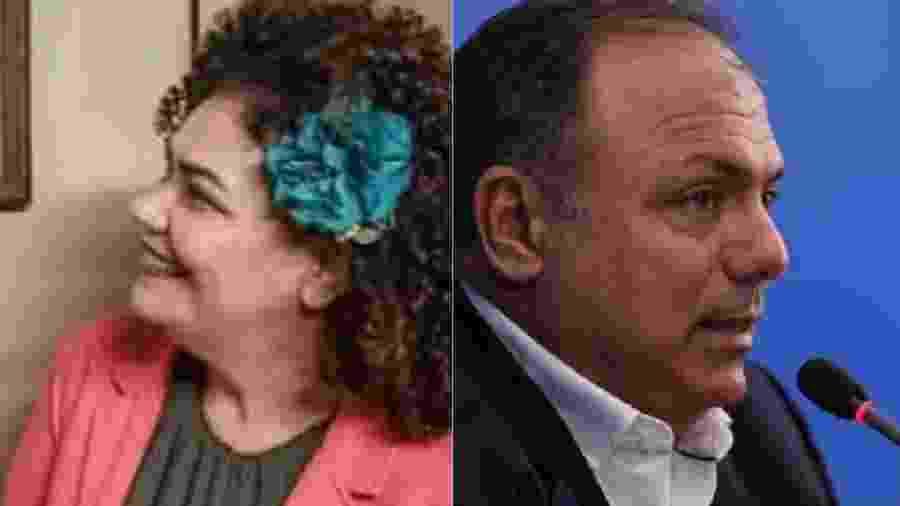 Deputada Perpétua Almeida, que apresenta PEC para começar a disciplinar a bagunça militar na vida pública, e general Eduardo Pazuello, exemplo máximo da bagunça - Reprodução; José Dias/PR