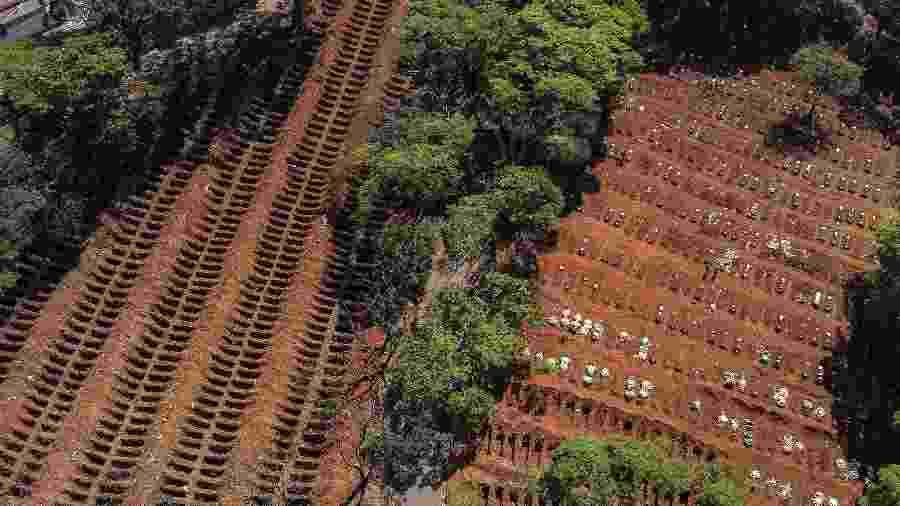 Imagem do cemitério da Vila Formosa, em São Paulo, com valas preparadas para o sepultamento de vítimas da Covid - Nelson Almeida/AFP