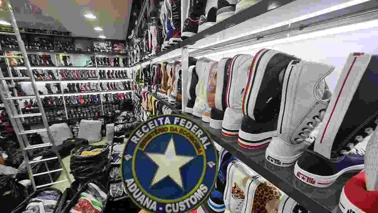 20.08.2020 - Receita Federal apreendeu 500 mil pares de calçados falsos em São Paulo (SP) - Divulgação/Receita Federal