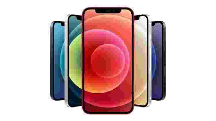 iPhone 12 virá em cinco cores: azul, verde, vermelho, branca e preta - Divulgação/Apple - Divulgação/Apple