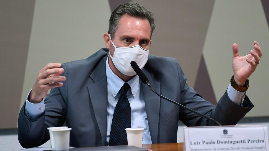 1º.jul.2021 - Luiz Paulo Dominghetti, representante da Davati Medical Supply, em depoimento à CPI da Covid - Edilson Rodrigues/Agência Senado