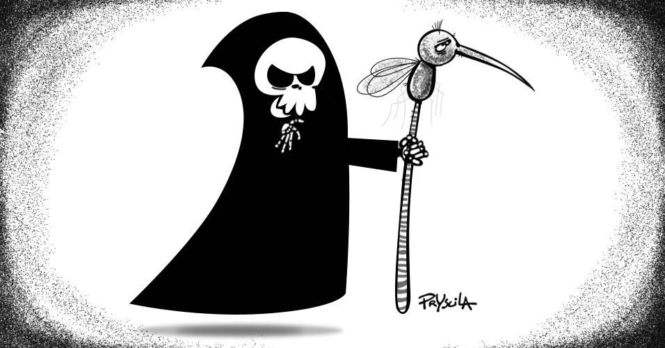 """Na charge da Pryscila, a morte aparece com uma nova ferramenta, o mosquito """"Aedes aegypti"""", para a população assustada com o vírus da zika. O mosquito é o principal transmissor da doença"""