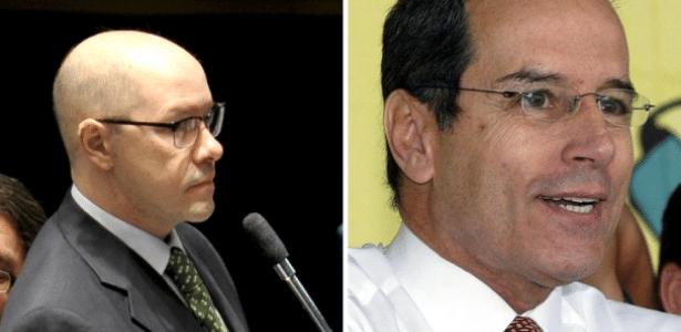 Os senadores cassados Demóstenes Torres (esq.) e Luiz Estevão