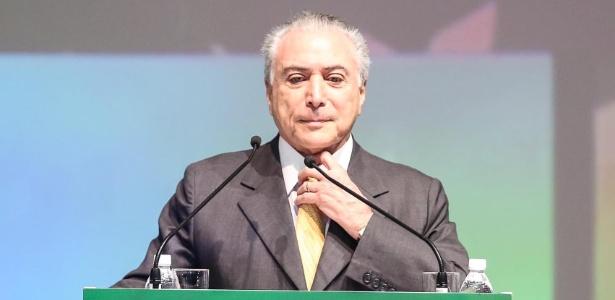 O presidente interino, Michel Temer (PMDB), discursa em evento em SP