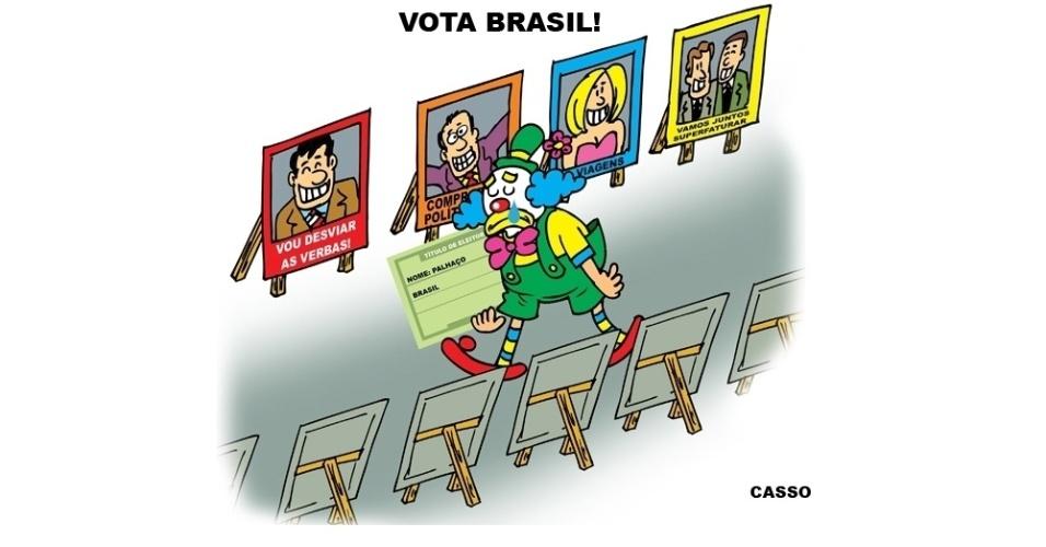 """26.jul.2016 - Palhaço se prepara para a próxima eleição nesse """"espetáculo circense"""""""