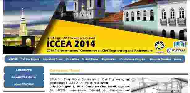 Página do Congresso feito na Unicamp - Reprodução