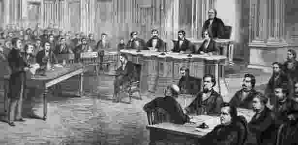 Gravura mostra votação do impeachment do presidente Andrew Johnson no Senado em 1868 - Getty Images - Getty Images