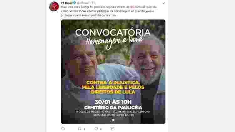 Tuíte - Lula - convocatória (versão ampliada) - Reprodução/Twitter/PTBrasil - Reprodução/Twitter/PTBrasil