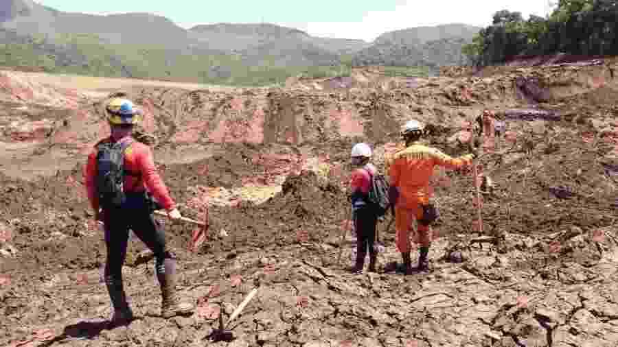 Bombeiros trabalham na lama em busca de vítimas da tragédia em Brumadinho (MG) - Divulgação