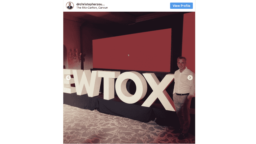 O médico Christopher Zoumalan posta em seu Instagram foto de evento da Evolus em Cancun, no México - Instagram