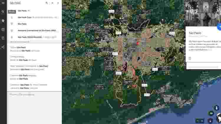 """""""Explorar"""" é o ponto de partida do Google Earth - basta digitar o local que quer para o sistema """"viajar"""" até o ponto - Reprodução"""