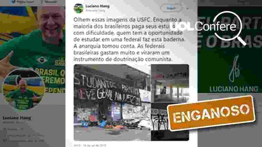 24.set.2019 - Post enganoso associa foto de lixo e entulho a baderna feita por estudantes na UFSC (Universidade Federal de Santa Catarina) - Arte/UOL