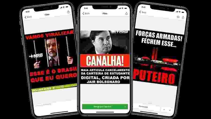 Memes com ataques contra Dias Toffoli, Rodrigo Maia e o Congresso são corriqueiros  - Arte/UOL