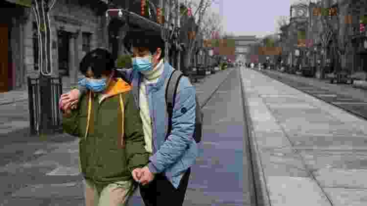 Casal máscaras Pequim 6.mar.2020 - STR/AFP - STR/AFP