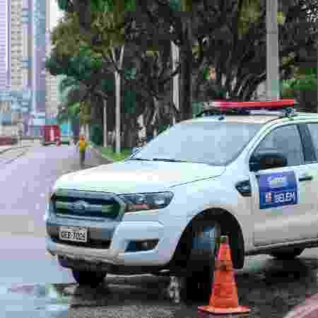 Barreira em via pública de Belém durante lockdown decorrente da pandemia do coronavírus - Divulgação - Divulgação