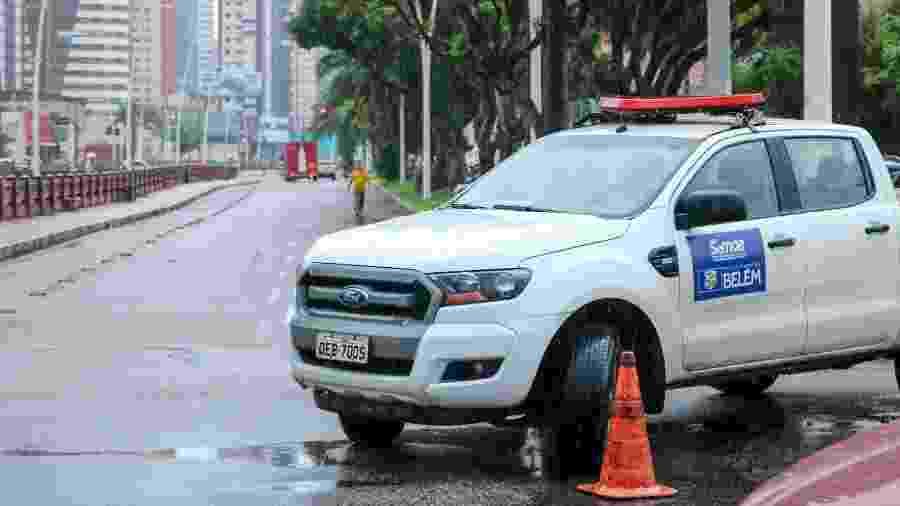 Barreira em via pública de Belém durante lockdown decorrente da pandemia do coronavírus - Divulgação