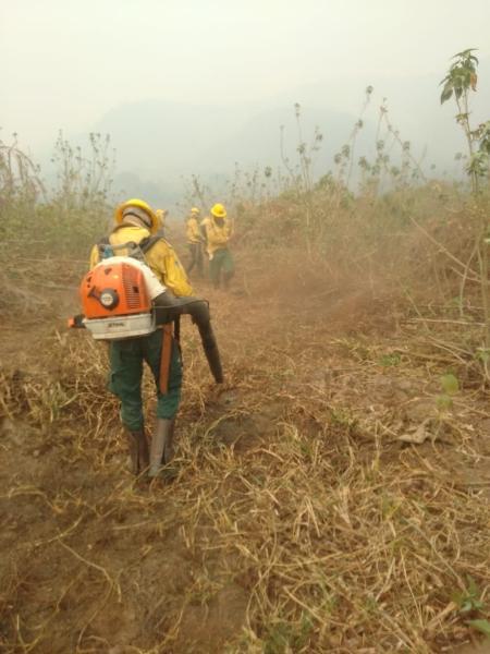 Brigadistas do Prevfogo combatem incêndio na Serra do Amolar, no Pantanal do MS, em setembro de 2020 - Ecoa (Ecologia e Ação) / Reinaldo Nogales