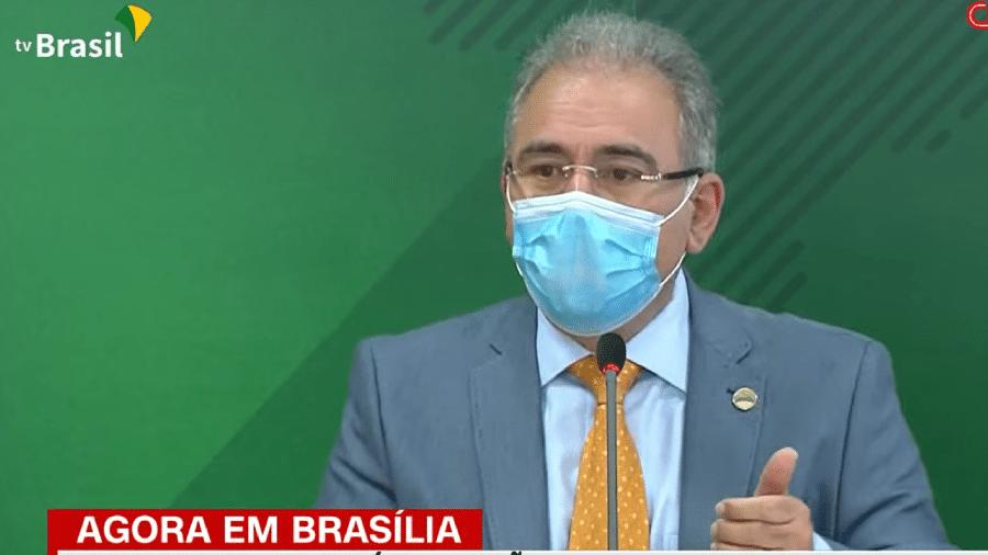 28.abr.2021 - O ministro da Saúde, Marcelo Queiroga, fala à imprensa após a 3ª Reunião do Comitê de Coordenação Nacional para Enfrentamento da Pandemia da Covid-19 - Reprodução/TV Brasil/CNN