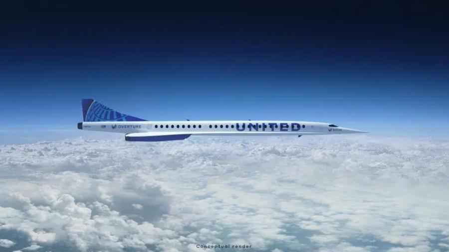"""Se o avião """"Overture"""" atender a todas as normas, poderá transportar passageiros com o dobro da velocidade dos aviões comerciais mais rápidos - Divulgação/United Airlines"""
