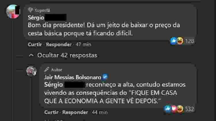 Jair Bolsonaro responde internauta que reclamou do preço da cesta básica - Reprodução/Facebook - Reprodução/Facebook