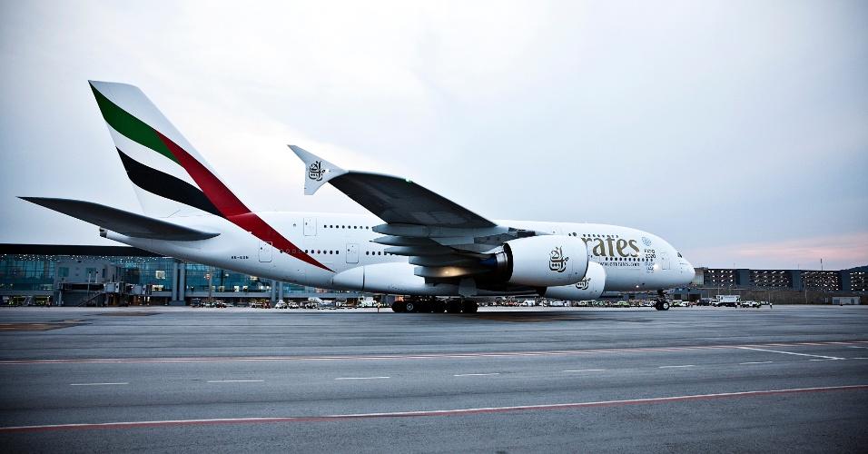 O A380, maior avião de passageiros do mundo, fez um único voo comercial para São Paulo desde Dubai, nos Emirados Árabes