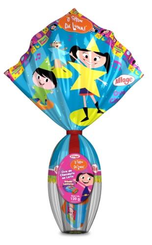 """Neste ano, a Village, que já licenciava marcas infantis como """"A Galinha Pintadinha"""" e """"Carrossel"""", também lançou ovos de """"O Show da Luna"""". O ovo de 120g vem uma lanterna de brinde. O preço não foi divulgado"""