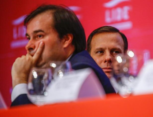 O presidente da Câmara, Rodrigo Maia (DEM-RJ), e o prefeito eleito de São Paulo, João Doria Júnior (PSDB), participam de almoço-debate do Lide (Grupo de Líderes Empresariais)