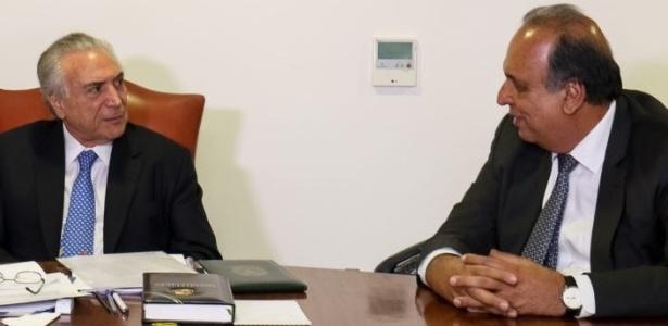 O presidente Temer (PMDB-SP) e o governador do Rio, Pezão (PMDB-RJ), em Brasília
